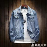 破洞牛仔上衣天藍色正韓修身牛仔夾克貼布刺繡情侶牛仔外套 優家小鋪