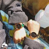 手錶 簡約復古圓形休閑手表百搭純色學院風情侶氣質腕表 潮流小鋪
