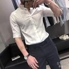 夏秋季五分袖襯衫男修身英倫帥氣潮流時尚條紋短袖白襯衣 快速出貨