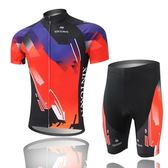 自行車衣套裝-含短袖腳踏車服+單車褲-單車自行必備男運動服69u34【時尚巴黎】
