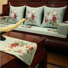 新中式刺繡花紅木沙發坐墊靠墊