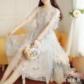 蕾絲洋裝 很仙女連身裙2020夏季新款流行超仙氣森系學生溫柔顯瘦長裙子 DR35692【美鞋公社】