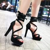 中大尺碼女鞋 12CM粗跟高跟鞋歐美性感交叉綁帶防水臺百搭絨面夜店單鞋2021夏季