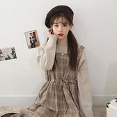 韓版甜美小清新格子中長款背帶裙繫帶收腰無袖連身裙學生    琉璃美衣