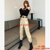工裝褲女春秋季顯瘦高腰束腳直筒西裝卡其色新款【CH伊諾】