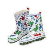 雨靴 韓國卡通恐龍兒童雨鞋男童可愛幼兒四季膠鞋防水防滑鞋  萬客居