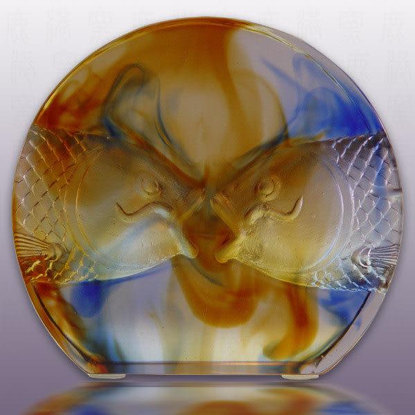 鹿港窯-居家開運琉璃-親愛 可當擺飾可當獎牌  ◆附古法制作珍藏保證卡◆免運費送到家