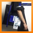 單肩包斜背包環保包個性包日本海浪印花電視歐美感圖樣文創意設計-藍/黃/白【AAA3611】預購