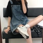 連體褲 牛仔背帶褲女夏季薄款2021新款復古港味寬鬆褲子小個子連體短褲 嬡孕哺