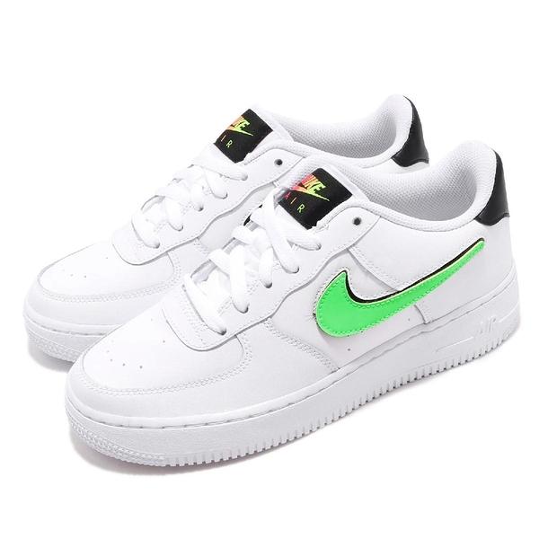Nike 休閒鞋 Air Force 1 LV8 3 GS 白 綠 螢光 女鞋 大童鞋 皮革 【PUMP306】 AR7446-100