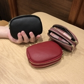 韓版大牌新款雙層拉鏈女士短款錢包迷你手拿包軟皮零錢包硬幣袋