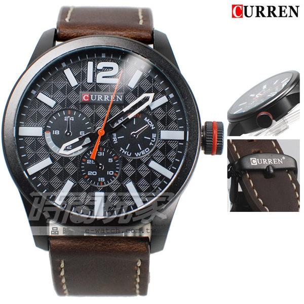CURREN 卡瑞恩 個性潮男 造型三眼 大錶徑皮革腕錶 男錶 厚實 防水手錶 CU8247咖