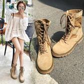 機車馬丁靴女短靴英倫風平底學生復古韓版百搭女靴子  琉璃美衣