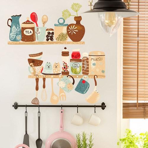 廚房餐具壁貼 2入 3D立體壁貼 貼紙 假窗壁紙 沂軒精品 E0065 台灣現貨