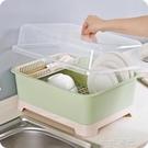 加厚塑料瀝水碗架 大號帶蓋餐具收納盒碗櫃置物架 廚房防塵碗碟架 WD一米陽光