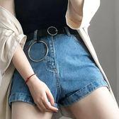 圓扣皮帶女簡約百搭韓國牛仔褲腰帶女大圓環裝飾通用學生韓版黑潮『新佰數位屋』
