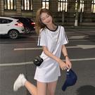 VK精品服飾 韓國學院風時尚T恤修身線條肩短袖洋裝