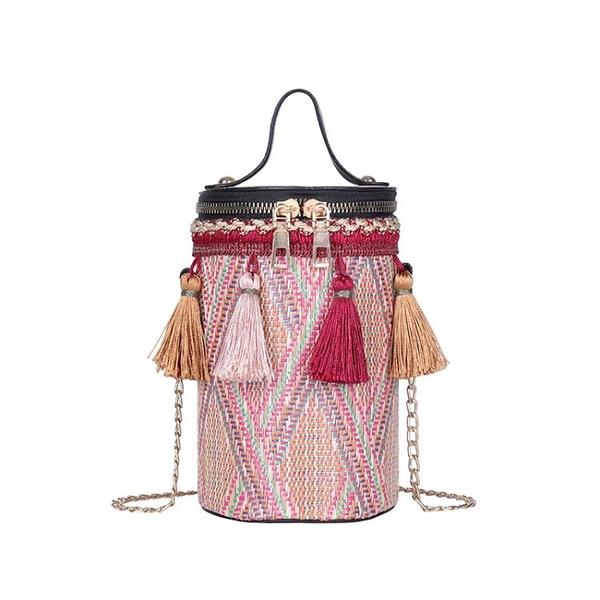小圓包 小包包女2021新款潮春夏草編織手提單肩包斜挎包少女民族風小圓包 小衣裡