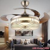 吊傘燈LED隱形吊扇燈歐式仿古銅客廳餐廳家用折疊電扇燈帶風扇吊燈110VJD CY潮流站