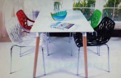 【南洋風休閒傢俱】造型桌椅系列 –樹狀椅+80x120cm筷子腳桌  塑料樹枝椅 彩色靠背椅 (542-1)