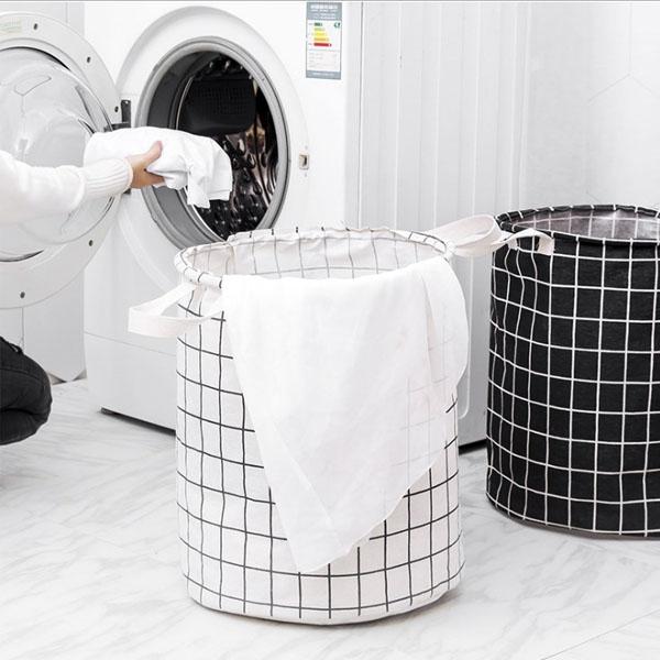 洗衣籃-日系清新棉麻北歐風簡約大號印花萬用可折疊收納籃 置物籃【AN SHOP】