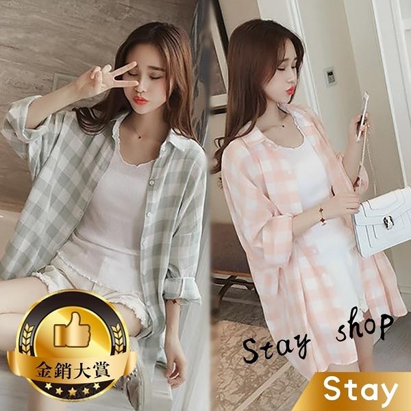 【Stay】夏新款小清新中長款格子外套 防曬外套 寬鬆休閒 襯衫 罩衫 薄外套 百搭外套【J43】