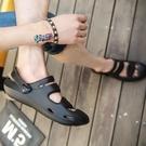 海灘鞋 厚底包頭洞洞鞋男鞋夏季新款防滑鏤空花園沙灘半拖鞋男士防滑涼鞋