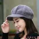 貝雷帽帽子女秋冬天韓版加絨加厚護耳保暖帽貝雷帽鴨舌針織毛線帽八角帽 芊墨左岸