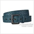 BV BOTTEGA VENETA經典編織皮帶設計牛皮扣式皮帶(靛藍)