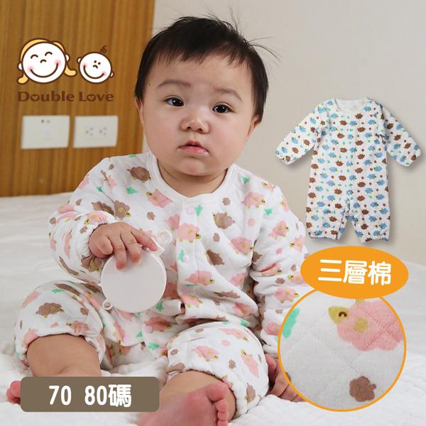 秋冬新款【GD0102】日本小羊滿印 新生兒服 連身衣 三層棉 (50-70碼) (紗布衣 包屁衣)