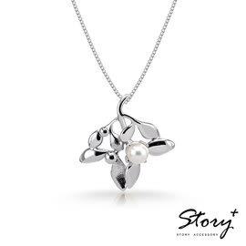 《 SilverFly銀火蟲銀飾 》SNOW系列-Mistletoe槲寄生天然珍珠項鍊(大)白K金