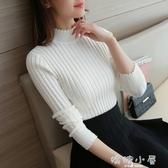 秋冬新款韓版半高領套頭打底毛衣女純色修身高領針織打底衫女長袖  嬌糖小屋