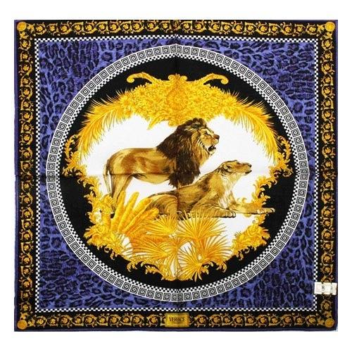 VERSACE 凡賽斯 古典藝術華麗獅子帕巾(藍色)989017-25