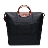 【LONGCHAMP】黑色手提斜背二用旅行袋(可加大款) 1911 089 001