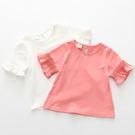 春夏季女童童裝韓版純色百氣質花邊搭上衣。白色 / 粉色