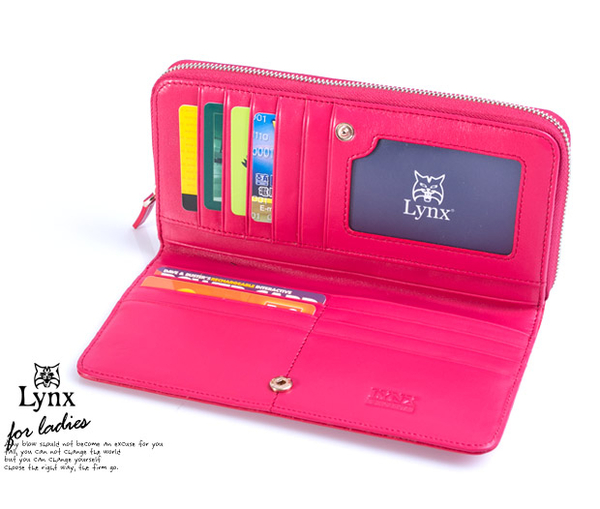 Lynx - 山貓仕女系列優雅款真皮兩折零錢式長皮夾 ─ 卡其