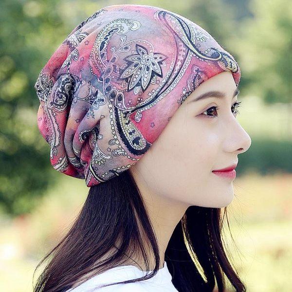 帽子女士春夏季薄款透氣月子帽睡帽春秋防風包頭帽光頭不透化療帽     西城故事