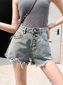 夏新款韓版牛仔短褲女排扣ins寬鬆高腰網紅闊腿a字毛邊破洞熱褲潮 探索先鋒