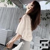 短袖上衣女夏季小眾短款t恤女喇叭袖襯衫潮【左岸男裝】