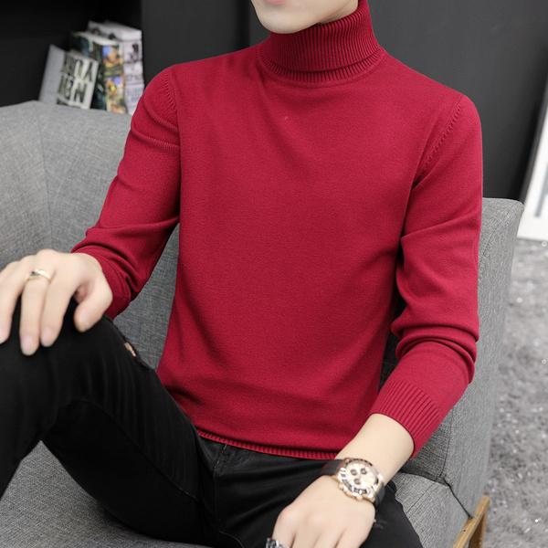 高領毛衣男2020秋冬季長袖打底針織衫韓版潮流半中領厚款線衣男裝