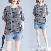棉麻上衣 夏裝新款文藝減齡棉麻t恤女裝短袖大碼寬鬆0斤印花百搭上衣 快速出貨
