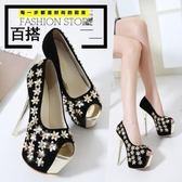 新款韓版淑女甜美大牌魚嘴花朵高跟鞋女式細跟淺口單鞋子   LannaS