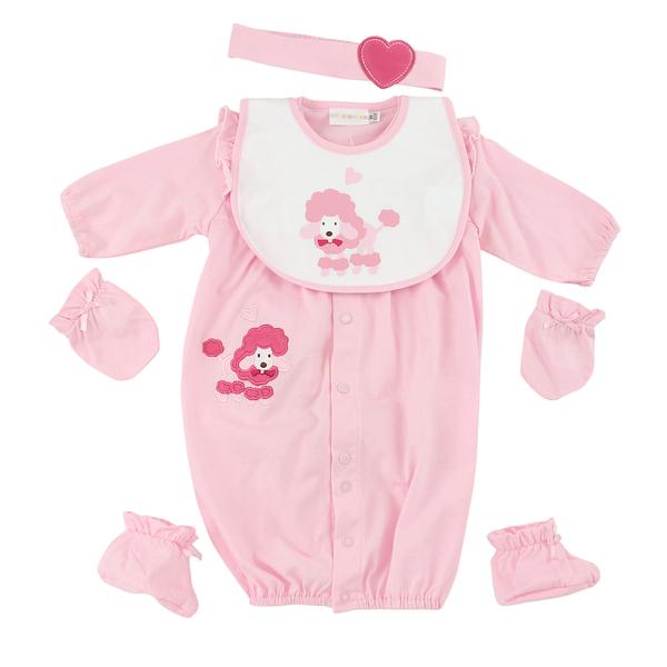 【愛的世界】粉色荷葉兩用嬰衣禮盒/3M~6個月-台灣製- ---禮盒推薦