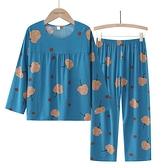 中老年人棉綢睡衣女夏季套裝外穿薄款家居服媽媽秋季長袖2021新款 【快速出貨】