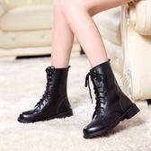 2018夏季新款女式靴子交叉繫帶圓頭平跟純色歐美英倫風中筒馬丁靴 美芭