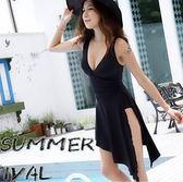 游泳衣女韓國連體黑色裙式比基尼