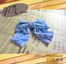 【YT店髮飾】藍底花朵浪漫甜美大蝴蝶結髮夾/髮飾/頭飾/彈簧夾(G003)