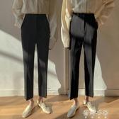 西裝褲女秋季高腰通勤職業西褲寬松直筒褲顯瘦黑色褲子九分煙管褲【蓓娜衣都】