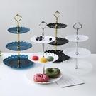 乾果盤 歐式塑料三層水果盤子藍客廳創意多層蛋糕架家用糖果干果點心托盤【快速出貨八折鉅惠】