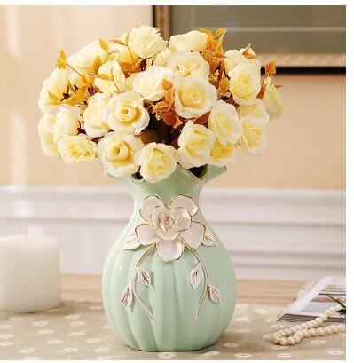 幸福居*歐式陶瓷花瓶擺件結婚家居客廳電視櫃餐桌時尚簡約現代裝飾工藝品4(主圖款)